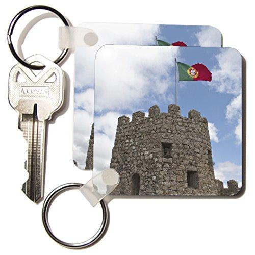 (3dRose Portugal, Sintra, 9th c. Moorish Castle, Flag - EU23 JLG0009 - John Loggins - Key Chains, 2.25 x 4.5 inches, set of 2)