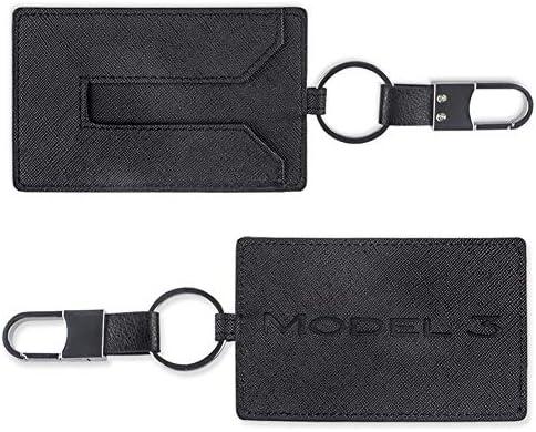 TAPTES Car Key Holder Card Case Leather CompatibleTesla Model 3 - Black 2pcs