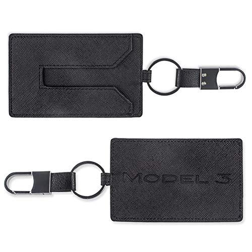 TapTes Car Key Holder Card Case Leather Compatible with Tesla Model 3 - Black 2pcs