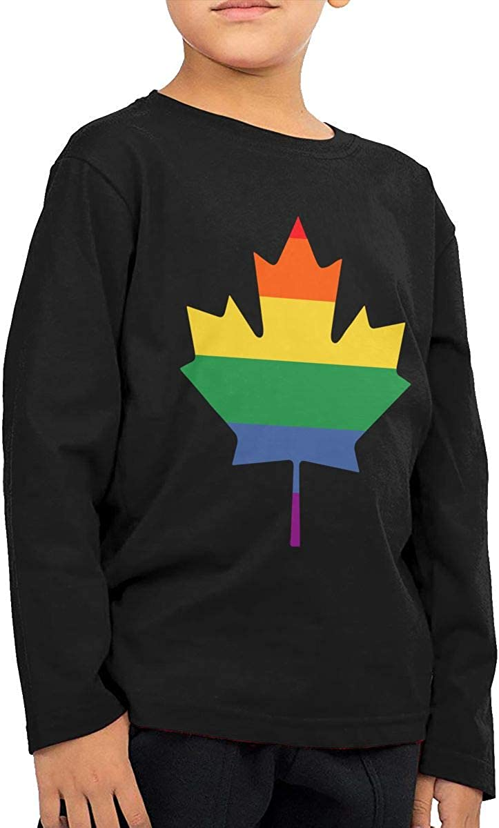 CERTONGCXTS Little Boys Canadian Maple ComfortSoft Long Sleeve Tee Black