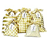 Appleby Lane Reusable Fabric Gift Bags (Standard Set, Gold) Set of 5 Bags, Three 12x16 inch and Two 8x10 in Bags