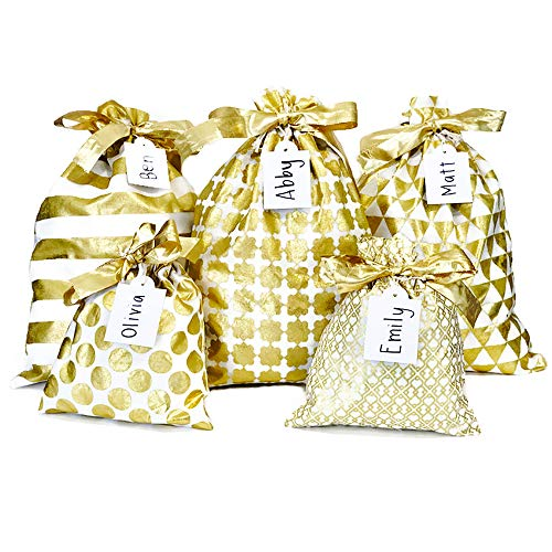 Appleby Lane Reusable Fabric Gift Bags (Standard Set, Gold) Set of 5 Bags, Three 12x16 inch and Two 8x10 in - Wrapper Gift