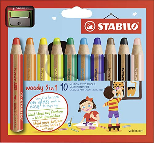 STABILO Woody 3-in-1 Colored Pencils, 10 mm Lead - 10-Color - Colored Chubby Pencil