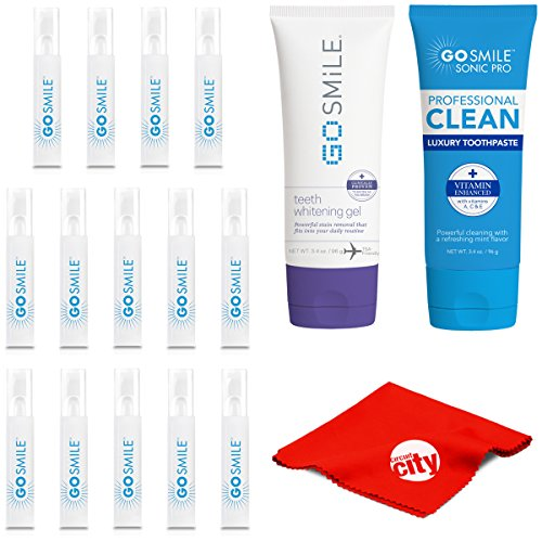Go Smile GS134 Super White Teeth Whitening System Snap Pack Kit with Gel (3.4oz) + Luxury Mint Toothpaste (3.4oz)