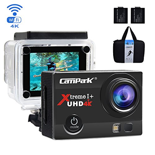 Campark ACT74 Action Cam 16MP 4K WiFi Waterproof Sports Camera 170° Ultra Wide-Angle Len with 2 Pcs Rechargeable Batteries and Portable Package