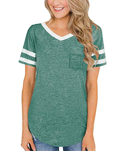 Aokosor Pullover Tunic Tops Shirts for Women Summer Short Sleeve Casual Blouse with Pocket for Work Green M]()