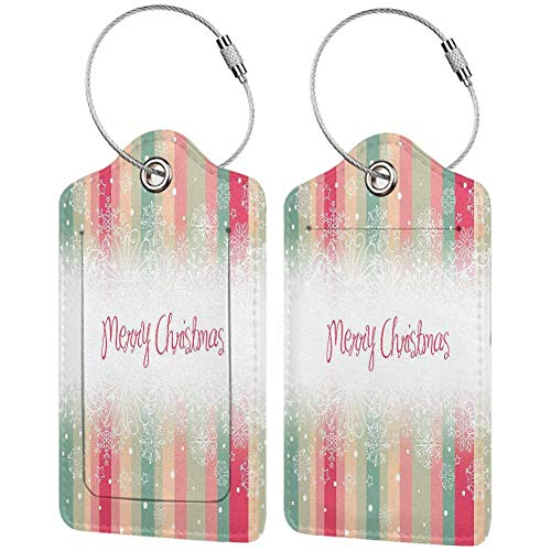 New Year Baggage Tags for Luggage Tag Colorful Vertical Stripes with Merry Christmas Quote Winter Season Theme Snowflake Travel bag suitcase with back privacy cover label Multicolor 2 packs (Please Christmas Italian In Merry)