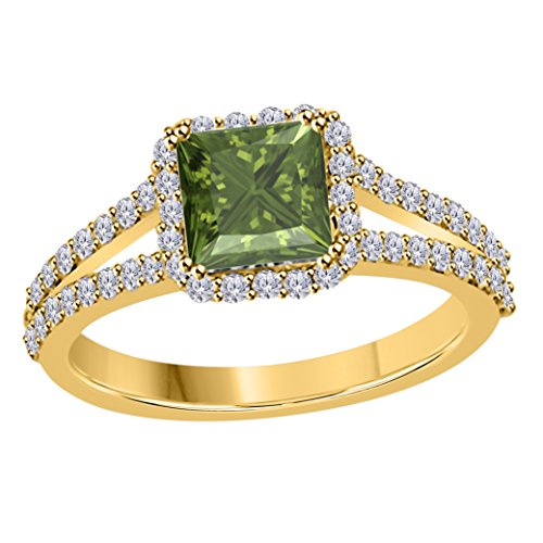 DreamJewels 2.00 Ct Princess Cut Halo Pave Eternity Lab Created Dark Green Peridot & White CZ Twist Shank Engagement Ring in 14k Yellow Gold Plated Size 4-12