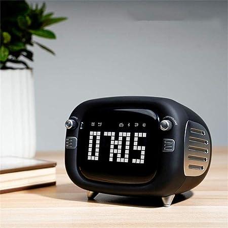 XY-M Retro Espejo diminuto Altavoz del televisor Despertador Control de Voz HD Bluetooth inalámbrico de Alarma Inteligente AI, la Voz del Despertador de Radio FM de Doble Coche, Negro,Negro: Amazon.es: Hogar