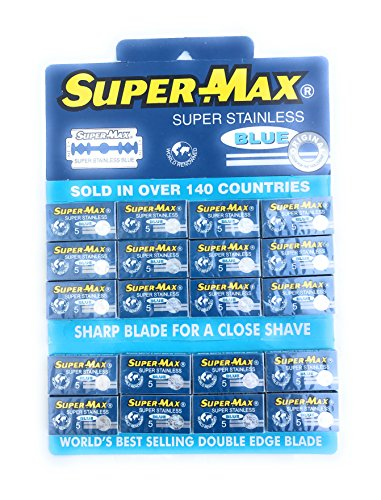 Double Edge Razor Blade Super Max Blue Super Stainless Steel 100 Pack (Super Max Razor Blade)