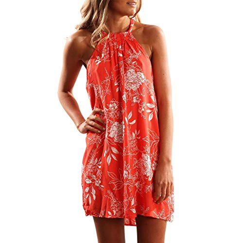Kiasebu Womens Casual Halter Sleeveless Boho Floral Print Beach Mini Short Dress with Pocket