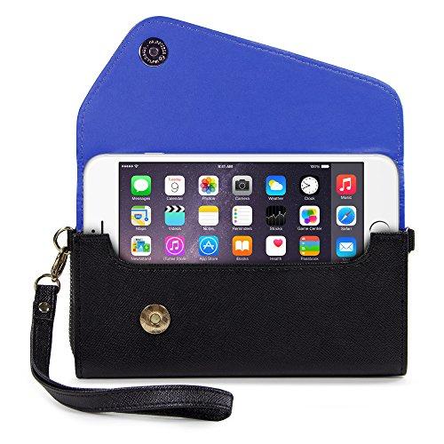 NuVur Womens Phone Wallet Clutch Wristlet Carrying Case|Black/Blue