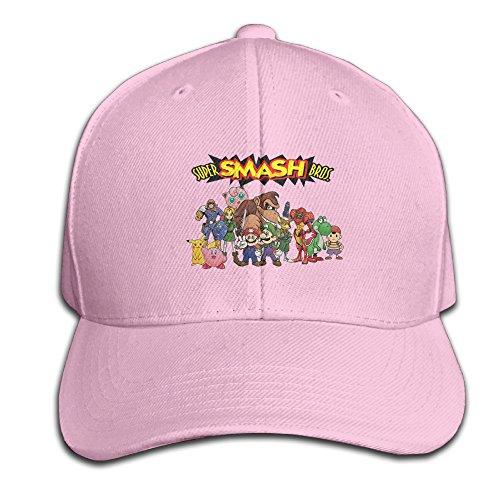 SHKUK-Super-Smash-Bros-Melee-Unisex-Pure-100-Cotton-Adjustable-Peaked-Cap-Fashion-Sports-Washed-Baseball-Hunting-Cap-Baseball-Caps-Pink