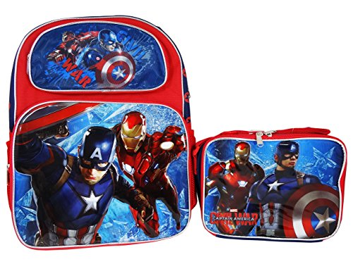 Captain America and Iron man Civil War backpack and Lunch bag combo set (Avengers 2 Boys Thor Costume)