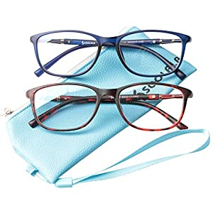 SOOLALA 2 Pairs Lightweight TR90 Full Frame Oversized Clear Lens Eyeglasses Reading Glasses, BlueRed, 1.0