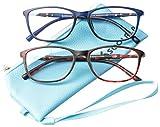 SOOLALA 2 Pairs Lightweight TR90 Full Frame Oversized Clear Lens Eyeglasses Reading Glasses, BlueRed, 1.5