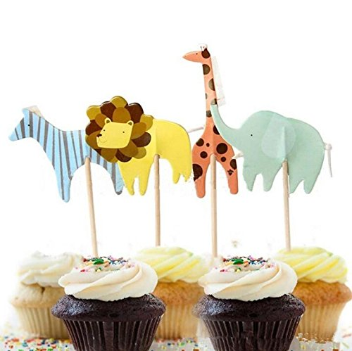 Yunko Set of 24 Zoo Animal Cupcake Topper Decorating Set Zebra Lion Elephant Giraffe for Kids Birthday Party Themed Party Baby Shower (Baby Shower Decorations Animals)