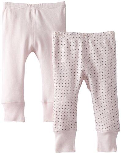 Kushies Unisexbaby Newborn Everday Mocha Layette 2 Pack Pants, Pink Solid/Dots, 9 Months