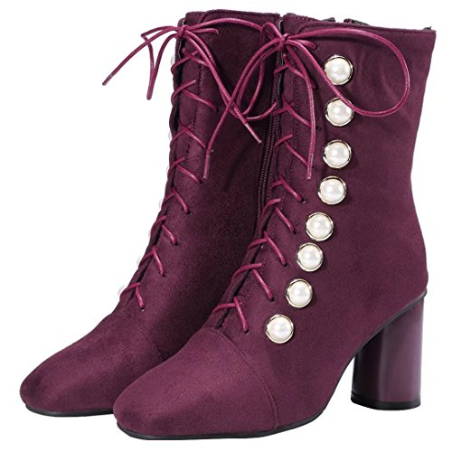 Wine Red Boot Classic AIYOUMEI WoMen q1AwCwPZ