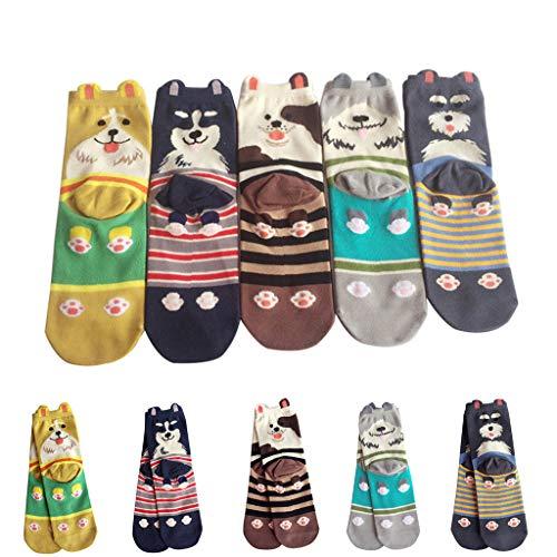 Tronet Slipper Socks/5 Pairs Women Girls Print Cartoon Dog Stripe Mid Tube Cute Socks]()