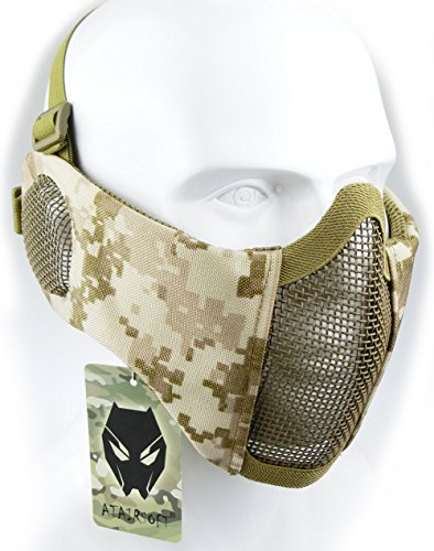 Mask Flexible Paintball Usa (ATAIRSOFT Tactical Airsoft CS Protective Lower Guard Mesh Nylon Half Face Mask with Ear Cover AOR1)