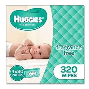 Huggies Fragrance Free Baby Wipes (Pack of 320), 320 Wipes (4 x 80 Pack)