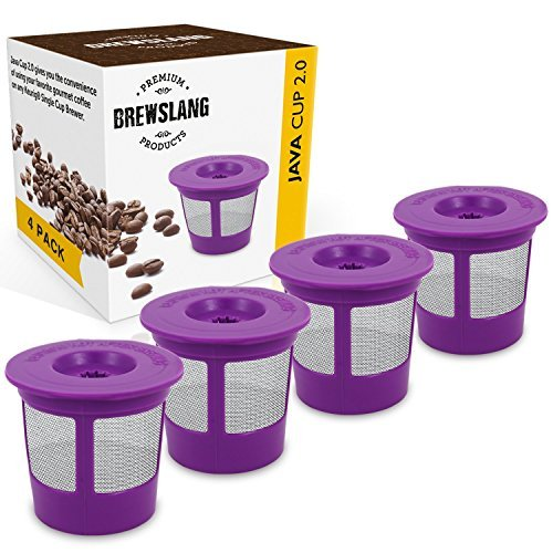 Refillable/Reusable Coffee Filter ''4 Pack'' for Keurig 2.0: K200, K225, K250, K300, K325, K350, K400, K425, K450, K500, K525, K550, K600, K650, K675 and 1.0 Single Cup Brewer by Brewslang by Brewslang