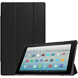 Fintie Slim Case for All-New Amazon Fire HD 10 Tablet (7th Generation, 2017 Release) - Ultra Lightweight Protective Stand Cover with Auto Wake / Sleep for Fire HD 10.1 Inch Tablet, Black