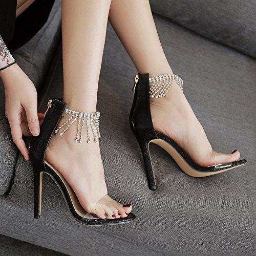 Glands Strass Femme Soirée Zyqme Stiletto Mariage Dames Ouvert Chaussures Cheville De Noir Talons Sandales Bout Hauts XqvqF