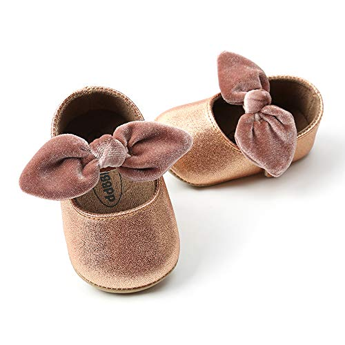 Baby Girls Mary Jane Flats Anti-Slip Rubber Sole Bow Toddler Princess Dress Shoes Champagne Gold ()