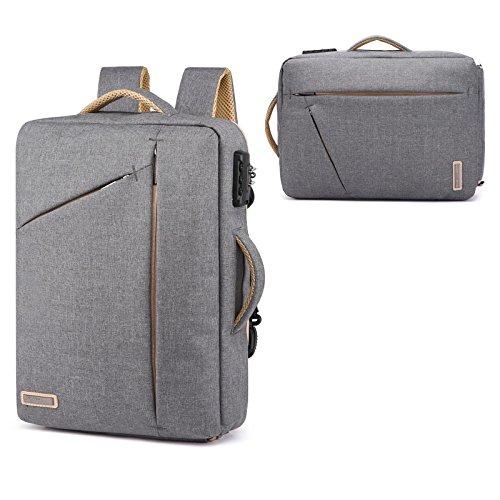 1 Convertible Briefcase - 15.6 Inch Laptop Backpack Convertible laptop Briefcase Anti Theft Multi-functional Backpack 3 in 1 Laptop Rucksack Single-shoulder Bag Handbag for Men Women, Fits Office College Travel Business,Gray