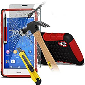 (Red with Pen) Sony Xperia Z3 Compact Tough Shockproof Hybrid Dual Layer Heavy Duty Case Cover With Stand Function - Tempered Glass Screen Protector- Retractable Stylus Pen, [Importado de UK]