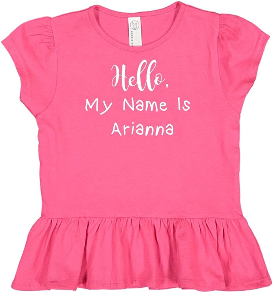 Personalized Name Toddler//Kids Ruffle T-Shirt My Name is Arianna Mashed Clothing Hello