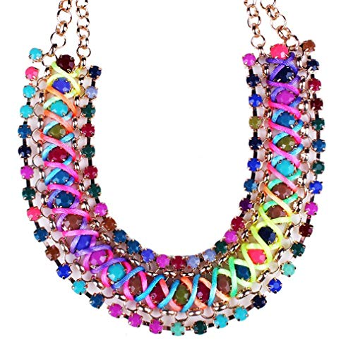 QIYUN.Z Girl's Funky Colorful Rainbow Colors Handmade Rope Woven Wide Chunky Necklace