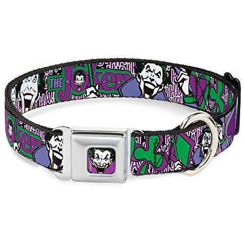 Dog Collar Seatbelt Buckle Joker Face Logo Spades Black White Purple 15 to 26 Inches 1.0 Inch Wide -
