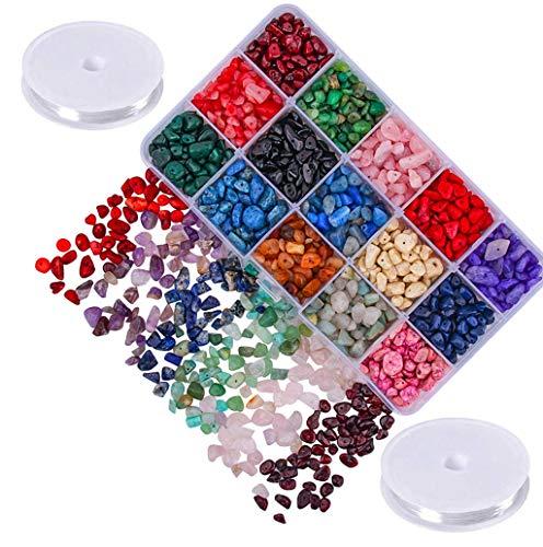 Willan Natural Gemstone Chips Beads Crushed Irregular Chips Stone Beads Set Healing Crystal Loose DIY Beads for Jewelry Earring Necklace Bracelet Making