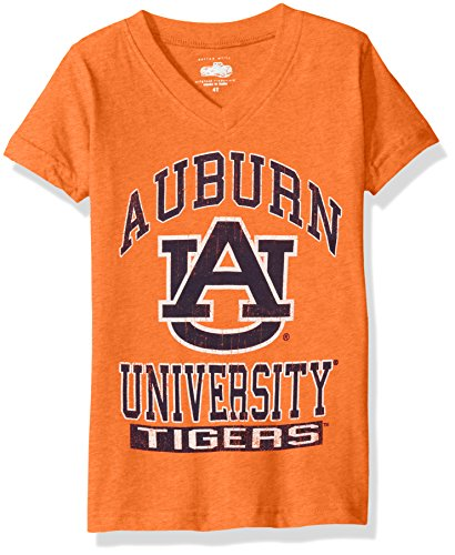 NCAA Auburn Tigers Children Girls V-Neck Short Sleeve Tee,10,Orange Crush Blend