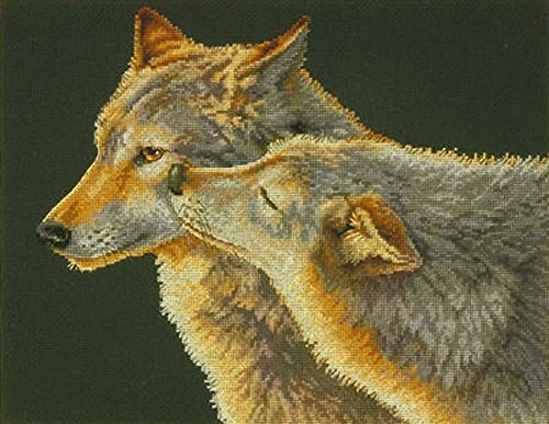 Dimensions Counted Cross Stitch Kit, Wolf Kiss, 14 Count Black Aida, 14'' x 11'' - $15.46