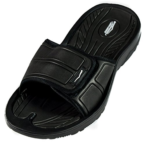 Men's Slide Slip On Sandal Slipper Comfortable Shower Beach Shoe Flip Flop (12, Black)