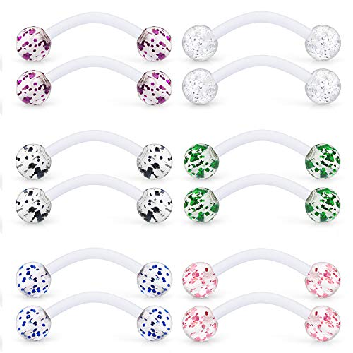 (Ftovosyo 6 Pairs 14G Glitter Bioflex Flexible Acrylic Curved Barbell Snake Eyes Tongue Nipple Ring Body Piercing Jewelry Retainer 16mm Mix Color)