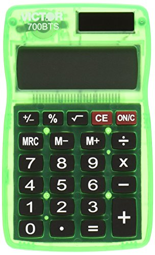 - Victor 700BTS 8-Digit Pocket Calculator in Bright Colors, Battery and Solar Hybrid Powered LCD Display, Great for Students and Kids, Fits in Backpacks, Purses, or Brief Cases, Color Will Vary