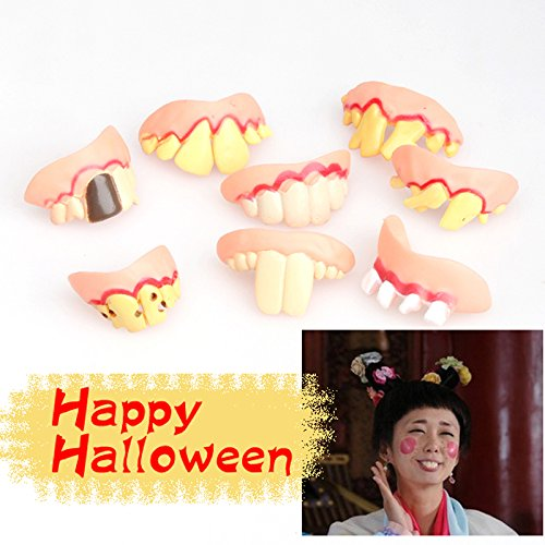 GreenSun TM Prank Startle Tooth Halloween Scary Crooked Monster Teeth Novelty Prank Ugly Joke Simulated Tooth Stickers -