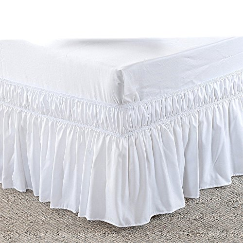 (Three Sides Fabric Wrap Around Elastic Solid Bed Skirt, Easy On/Easy Off 100% Microfiber Dust Ruffled Bed Skirts- Bed Wrap with 14 Inch Tailored Drop (King/Cal-King, White))