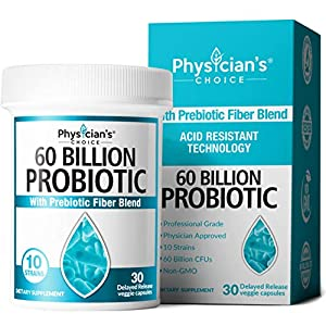 Probiotics 60 Billion CFU – Dr. Approved Probiotics for Women, Probiotics for Men and Adults, Natural; Shelf Stable Probiotic Supplement with Organic Prebiotic, Acidophilus Probiotic; 30 Capsules