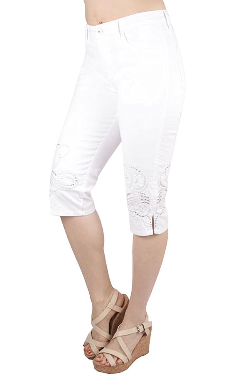 Capri Jeans - Embroidery Bottom