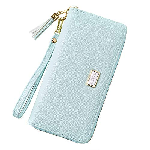(Cyanb Wallet for Women Large Bifold Wristlet Soft Leather with Tassel Card Money Organizers Light Green)