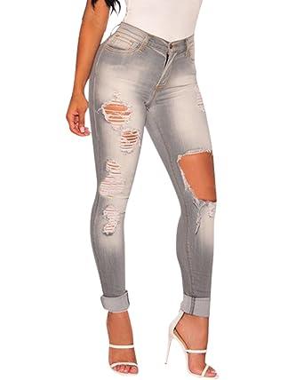 Femme Grau Pantalons en Jean Déchiré Crayon Taille Haute Mince Stretch  Leggings Skinny Jeans  Amazon.fr  Vêtements et accessoires f3384bdbc591