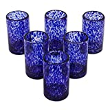 NOVICA 6pc Hand Blown Blue Confetti Recycled Glass Juice Glasses, 5oz  Deal (Small Image)
