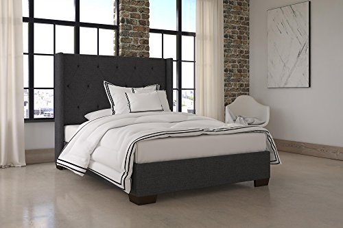 DHP Eden Wingback Upholstered Platform Bed with Vintage Modern Style and Wooden Slat Support, Full Size – Grey Linen