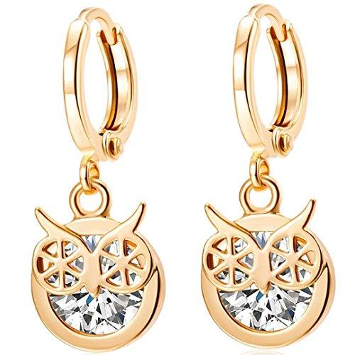25 Mm Coin Shape (XiaosanWomen Popular Crystal Animal Owl Earrings Full Rhinestone Female Pendant Earring Charms (White))